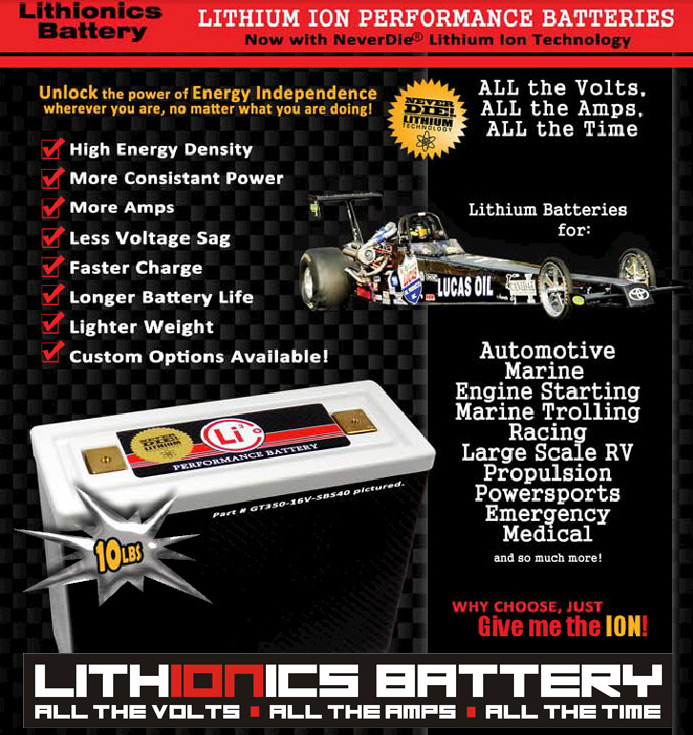 Our lithium-ion batteries are lighter, charge faster, suffer less voltage sag, last longer, provide more amps and more consistent power!